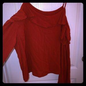 Burnt orange cold shoulder shirt